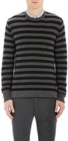 Officine Generale MEN'S STRIPED SWEATER-BLACK SIZE XL