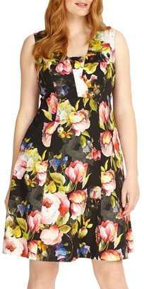 Studio 8 Amara Fit And Flare Floral Dress, Black/Multi