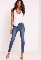 Missguided Mid Rise Skinny Jeans Vintage Blue