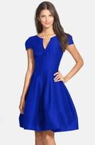 Halston Cotton & Silk Fit & Flare Dress