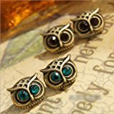 OHYES Cute Lovely Eye Owl Earrings Blue Pendientes Stud Earing