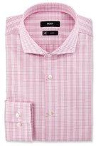 HUGO BOSS Active Traveler Slim-Fit Plaid Dress Shirt, Pink