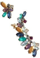 Marchesa Mismatched Cluster Crystal Earrings