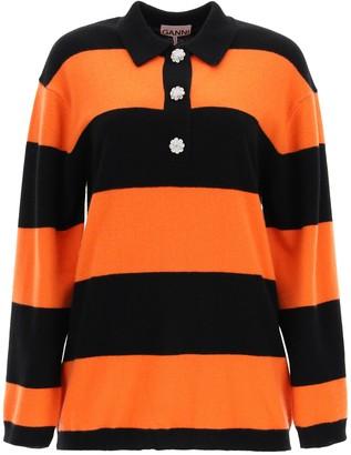 Ganni STRIPED SWEATER WITH JEWEL BUTTONS S/M Orange, Black Cashmere