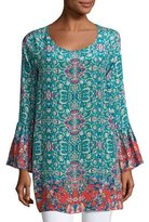 Tolani Belle Floral-Print Silk Tunic, Plus Size