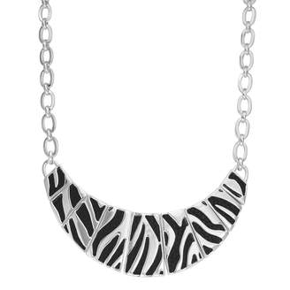 Dana Buchman Zebra Stripe Inset Faux Leather Necklace