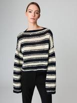 Oscar de la Renta Striped Wool-Cashmere Pullover
