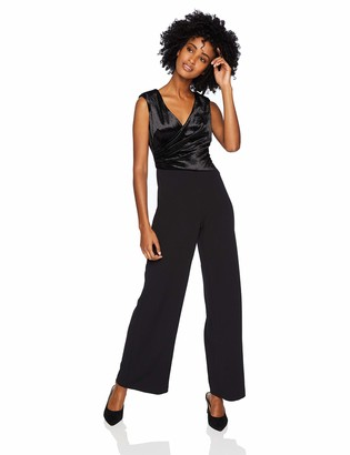 Adrianna Papell Women's Wide Pant Leg Draped Stretch Velvet Jumpsuit