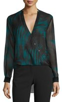 Halston Printed High-Low Wrap Blouse, Spruce