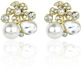 Lux Accessories Crystal Floral Pave Flower Bridal Bride Wedding Bridesmaid Elegant Stud Earrings
