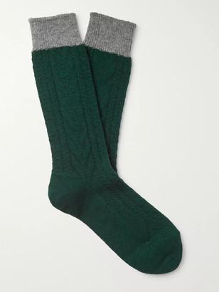 Mr P. Colour-Block Ribbed Wool-Blend Socks