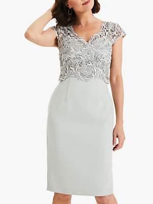 Phase Eight Ellise Lace Dress, Duck Egg