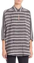 Natori Printed Silk Collared Tunic