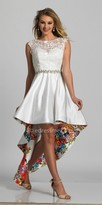 Dave and Johnny Sleeveless High-low A-line Floral Lining Cocktail Dress