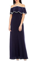 Calvin Klein Off-the-Shoulder Ruffle Overlay Maxi Dress