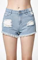 Obey Saloon Ripped High Rise Cutoff Denim Shorts