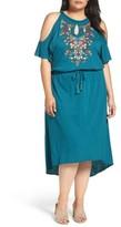 Democracy Plus Size Women's Embroidered Blouson Cold Shoulder Dress