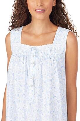 Eileen West Cotton Jersey Knit Sleeveless Short Nightgown (White Ground Peri Floral Mutli) Women's Pajama