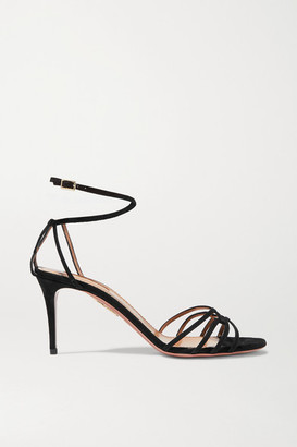 Aquazzura Very First Kiss 75 Suede Sandals - Black