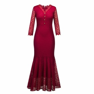 ranrann Women V Neck Hollow Out Long Sleeve Lace Floral Embroidered Fishtails Dress Evening Party Dress Burgundy XL