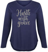 Instant Message Plus Women's Tee Shirts NAVY - Navy 'Hustle With Grace' Glitter Long-Sleeve Tee - Plus