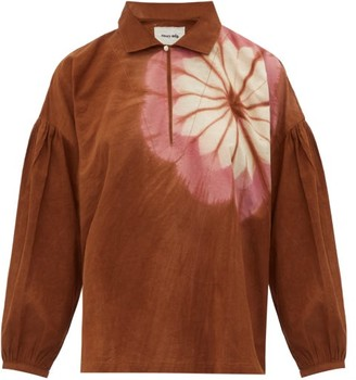 Story mfg. Amber Flower-dyed Organic-cotton Top - Brown Multi