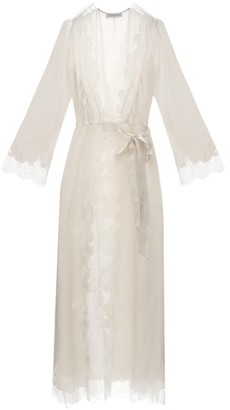 Carine Gilson Skyfall Lace-trimmed Silk-satin Robe - Cream