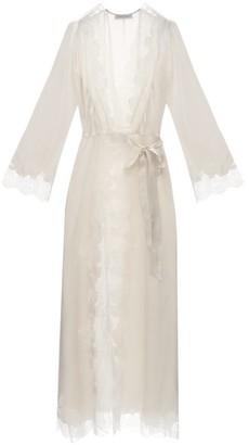 Carine Gilson Skyfall Lace-trimmed Silk-satin Robe - Womens - Cream
