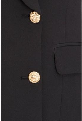 Quiz Woven Long Sleeve Gold Button Blazer - Black