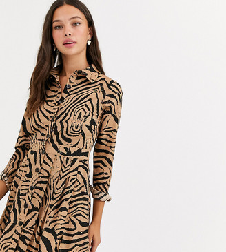 Wednesday's Girl mini shirt dress with pleated skirt in animal print