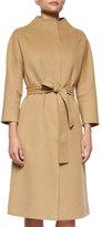 Carolina Herrera Double-Faced Belted Wrap Coat, Camel