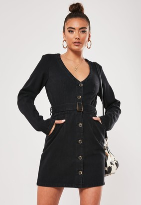 Missguided Black Long Sleeve Belted Plunge Denim Dress