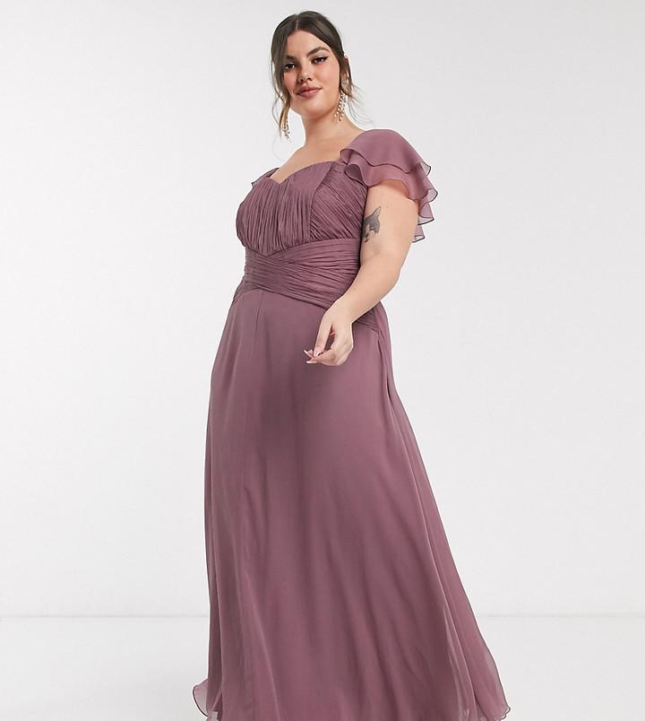 ASOS DESIGN Curve Bridesmaid short sleeve ruched maxi dress