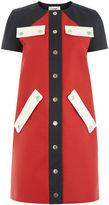 Courreges Red Bicolour Cap Sleeve Dress