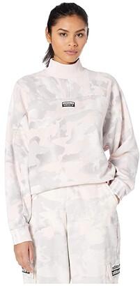 adidas Camo Funnel Sweater (Chalk White/Light Granite/Grey/Desert Pink) Women's Sweater