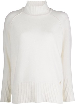 Blumarine Ribbed Knit Detail Roll Neck Jumper