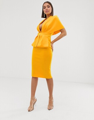 Asos Design DESIGN structured plunge kimono midi dress with peplum-Yellow