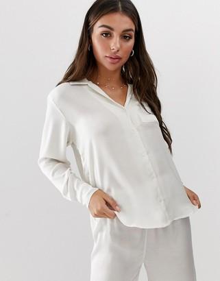 Amuse Society Cuba Libre woven beach shirt in pebble-White