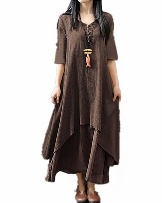 Kidsform Women's Maxi Vintage Casual Loose Long Sleeve Dress 2-blue S