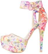 Charlotte Russe Qupid Floral Print Platform Heels