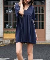 Z Avenue Women's Casual Dresses Navy - Navy Cotton-Slub Shift Dress - Women & Plus