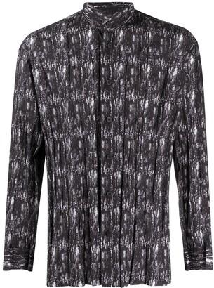 Issey Miyake Abstract Print Mandarin Collar Shirt