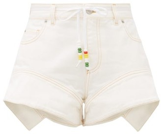J.W.Anderson Flared-cuff Denim Shorts - Womens - White