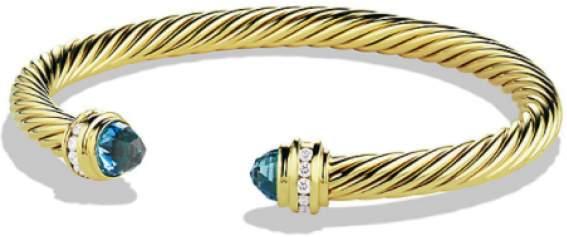 David Yurman 18K Yellow Gold with Diamond and Blue Topaz Bracelet