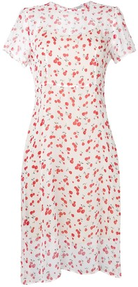HVN Cherry Print Midi Dress