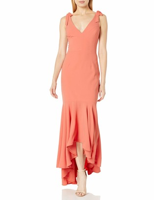 Dress the Population Women's Julia Plunging Hi-Lo Sleeveless Stretch Gown Dress