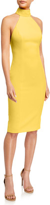 Jay Godfrey Soori Cutout Back Stretch Crepe Halter Dress