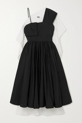 MM6 MAISON MARGIELA Asymmetric Paneled Pleated Crepe And Cotton-poplin Dress - Black