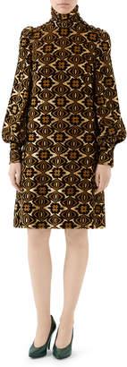 Gucci Metallic Geometric Floral Jersey Dress
