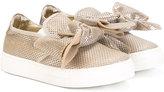 Simonetta bow detail slip-on sneakers - kids - Goat Skin/Leather/Polyester/rubber - 24